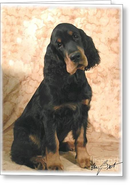 Gordon Setter Pup Greeting Card by Maxine Bochnia