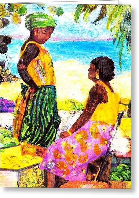 Gossip Girls Greeting Card by Anne-Elizabeth Whiteway