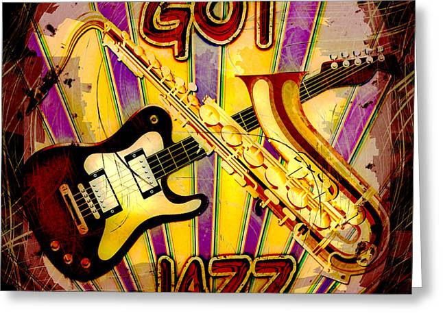Got Jazz Abstract Greeting Card by David G Paul
