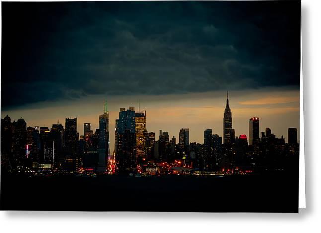 Gotham Nights Greeting Card by David Hahn