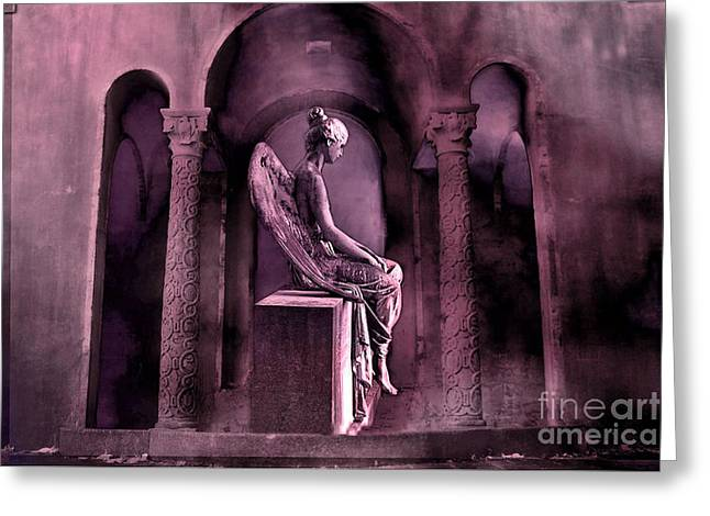 Gothic Fantasy Surreal Angel In Mourning Greeting Card by Kathy Fornal