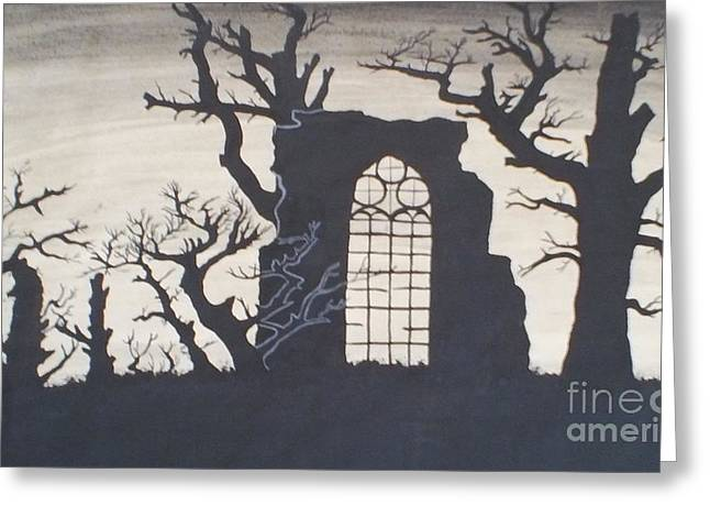 Gothic Landscape Greeting Card by Silvie Kendall