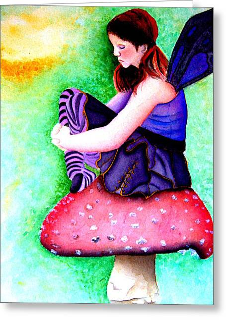 Gothic Teenage Fairy Greeting Card by Amanda Pillet