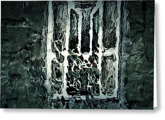 Gothic Window Greeting Card by Paula Ayers