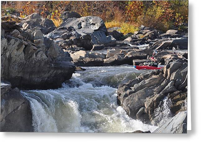 Grace Under Pressure On The Potomac River At Great Falls Park Greeting Card
