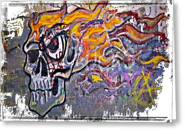 Graffiti Skull Greeting Card by Susan Leggett