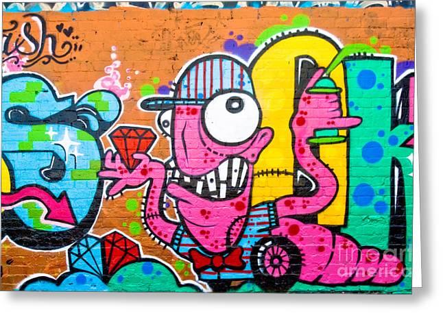 Graffiti Spray-worm Greeting Card by Yurix Sardinelly