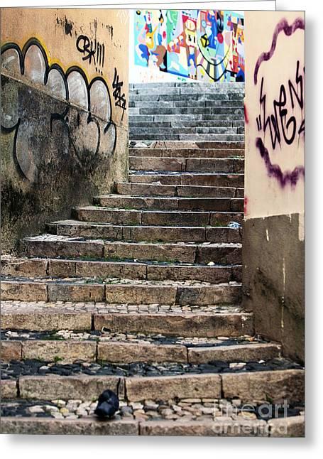 Graffiti Stairs Greeting Card by John Rizzuto