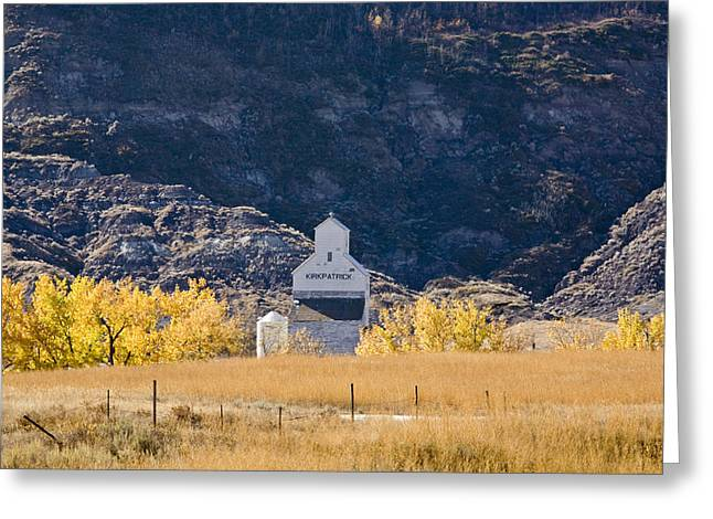Grain Elevator Badlands Alberta Greeting Card