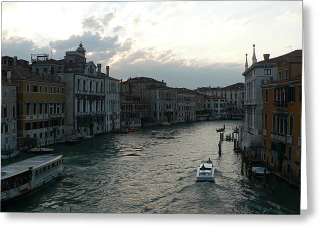 Greeting Card featuring the photograph Grand Canal At Dusk by Laurel Best