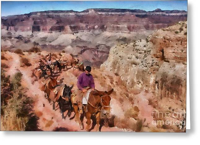 Grand Canyon Mule Packtrain Greeting Card by Mary Warner