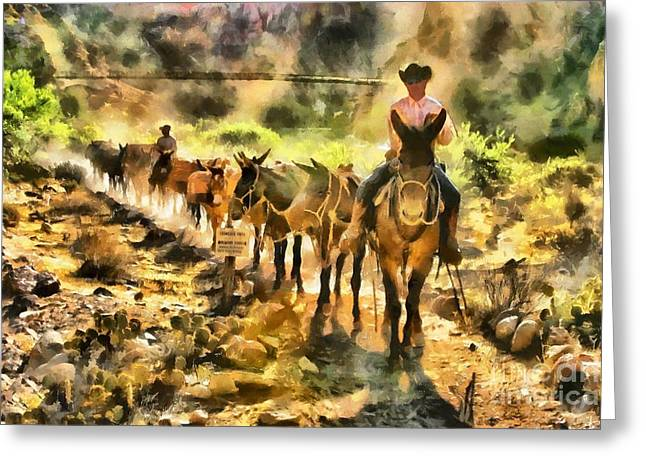 Grand Canyon Mules At The River Greeting Card