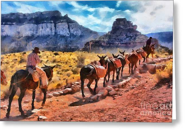 Grand Canyon Mules Heading Up The South Kaibab Trail Greeting Card
