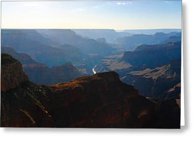Grand Canyon Sunset Panorama Greeting Card by David Waldo