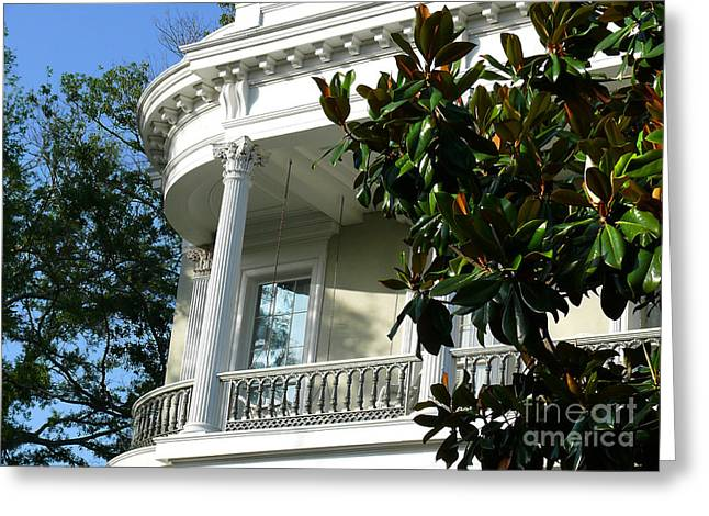 Grand House With Magnolia Tree Greeting Card