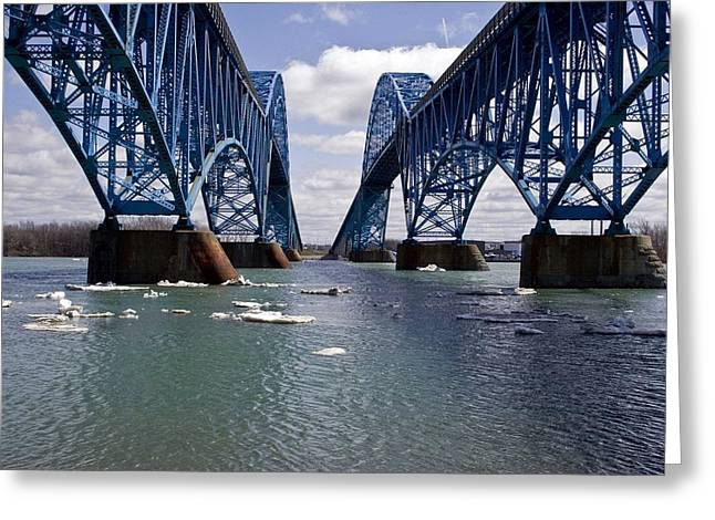 Greeting Card featuring the photograph Grand Island Bridges by Darleen Stry