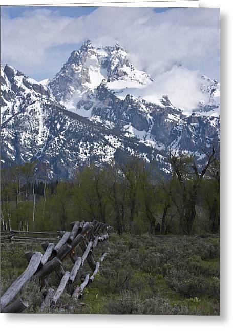 Grand Teton Fence Greeting Card by Charles Warren