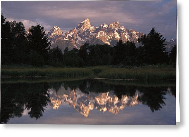 Grand Teton Range And Cloudy Sky Greeting Card by Tim Fitzharris