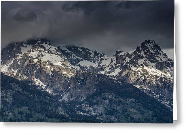 Grand Tetons Immersed In Clouds Greeting Card by Greg Nyquist