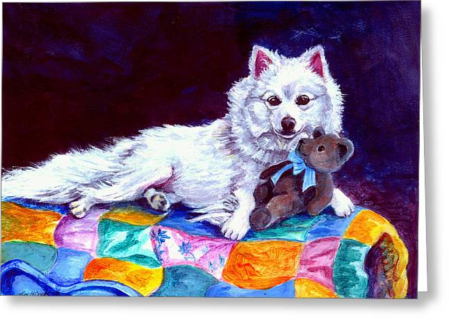 Grandma's Quilt - American Eskimo Dog Greeting Card by Lyn Cook