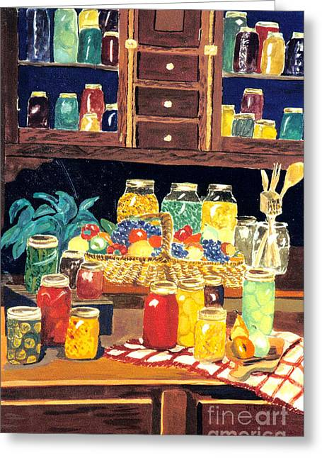 Greeting Card featuring the painting Granny's Cupboard by Julie Brugh Riffey