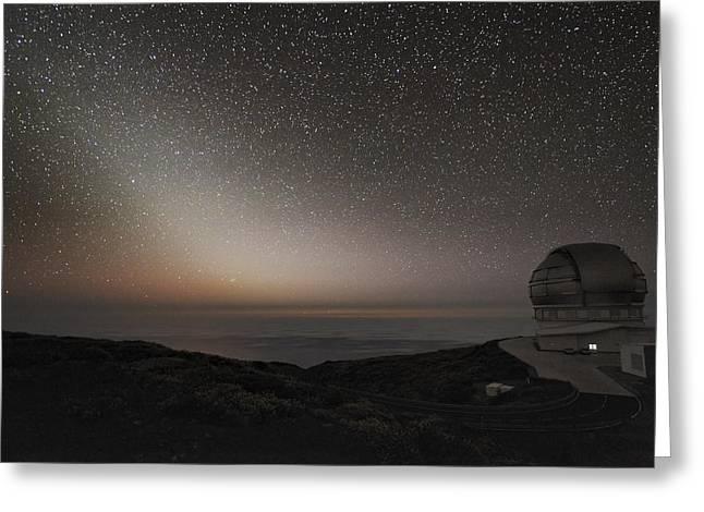 Grantecan Telescope And Zodiacal Light Greeting Card by Alex Cherney, Terrastro.com