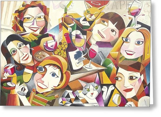 Grape Girls Greeting Card by Bob Gregory
