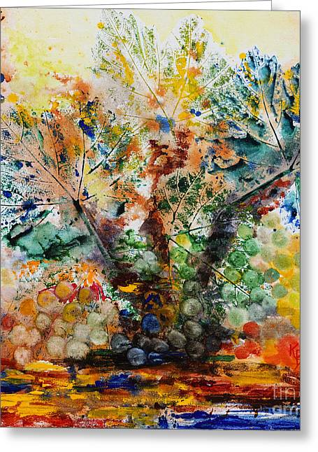 Greeting Card featuring the painting Grape Tree by Karen Fleschler