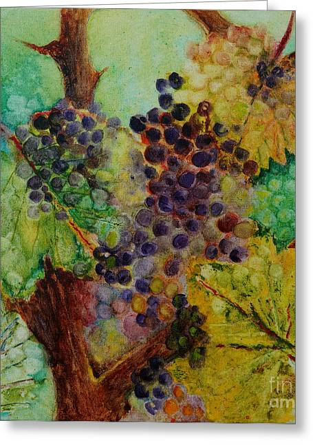 Greeting Card featuring the painting Grapes And Leaves V by Karen Fleschler