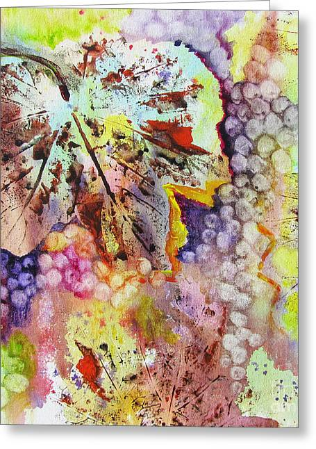 Greeting Card featuring the painting Grapes And Leaves Vi by Karen Fleschler