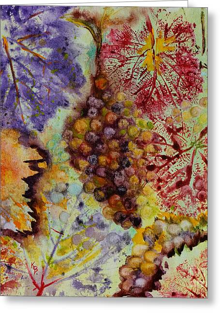 Greeting Card featuring the painting Grapes And Leaves Viii by Karen Fleschler