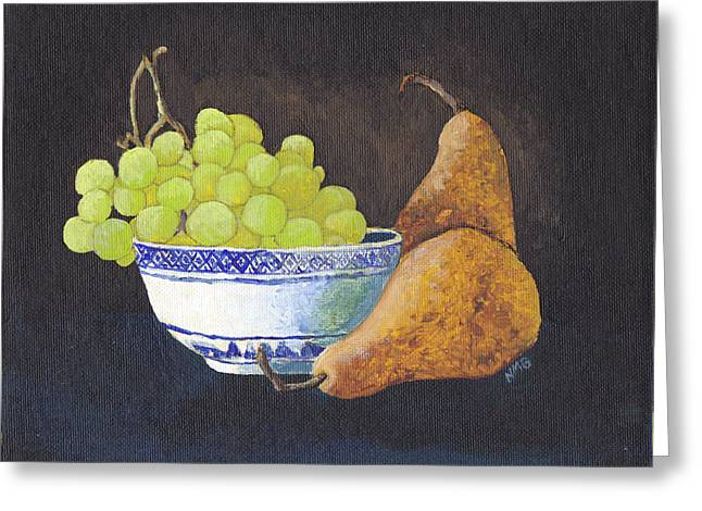 Grapes And Pears Greeting Card by Nicole Grattan