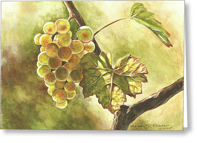 Grapes Greeting Card by Deb Richter