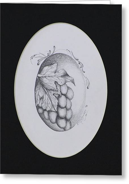 Wine Country. Drawings Greeting Cards - Grapes Greeting Card by Kim Stewart