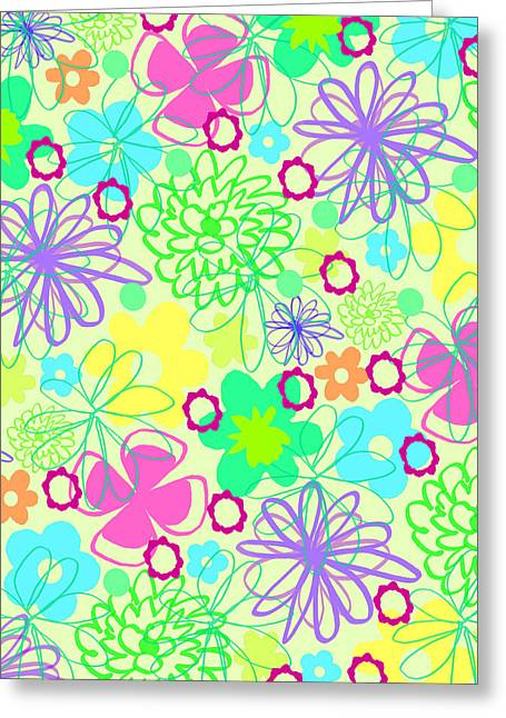 Graphic Flowers Greeting Card by Louisa Knight