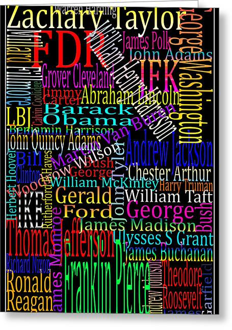 Graphic Presidents Greeting Card by Andrew Fare