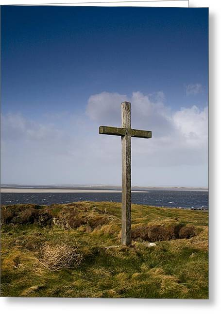 Grave Site Marked By A Cross On A Hill Greeting Card by John Short