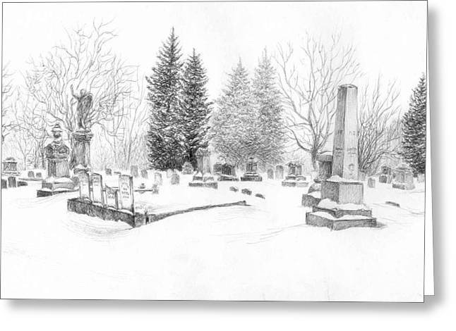 Graveyard In The Snow Greeting Card