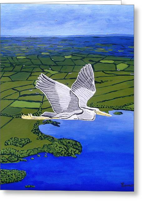 Gray Heron Flying Over Lough Sheelin Greeting Card by Eamon Reilly