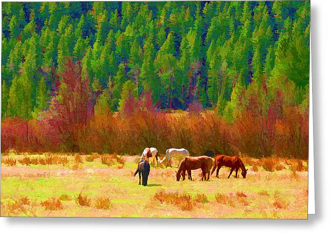 Greeting Card featuring the digital art Grazing by Brian Davis