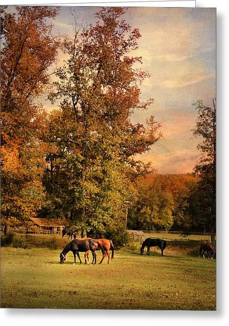 Grazing In Autumn Greeting Card by Jai Johnson