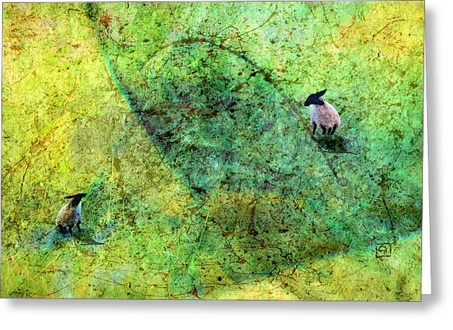 Greeting Card featuring the digital art Grazing The Pollock Field by Jean Moore