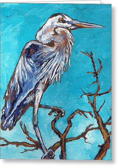 Great Blue Heron Greeting Card by Sandy Tracey
