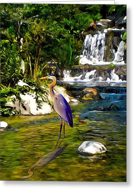 Great Blue Heron Greeting Card by Sotiri Catemis