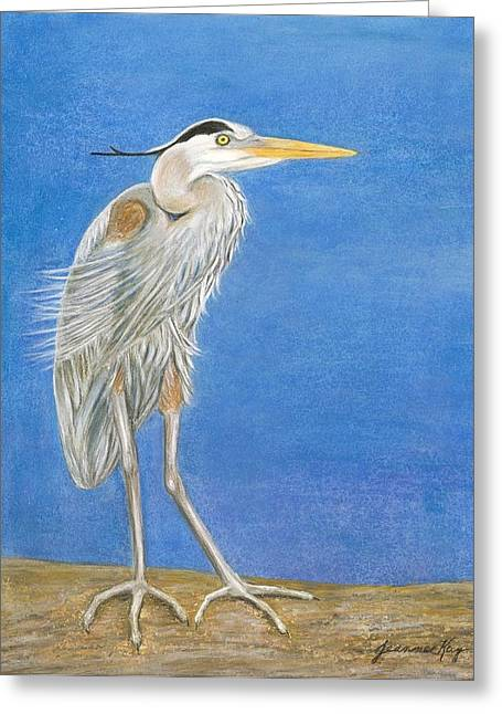 Great Blue Heron Windy Day Greeting Card by Jeanne Kay Juhos