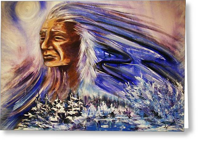 Greeting Card featuring the painting Great Father - Winter by Karen  Ferrand Carroll