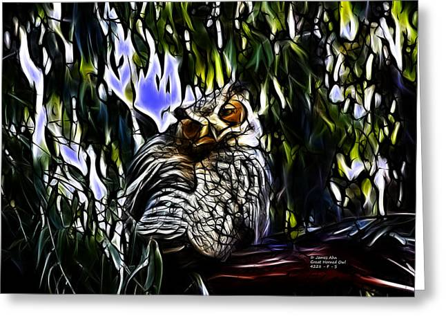 Great Horned Owl - 4228 - Fractal - S Greeting Card
