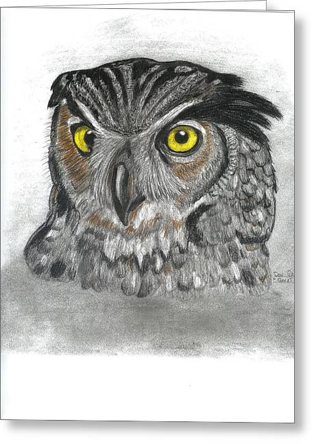 Great Horned Owl Greeting Card by Don  Gallacher