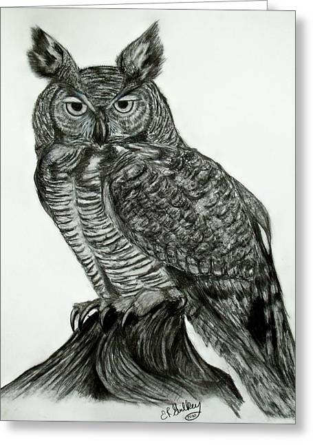 Great Horned Owl Greeting Card by Elizabeth Guilkey