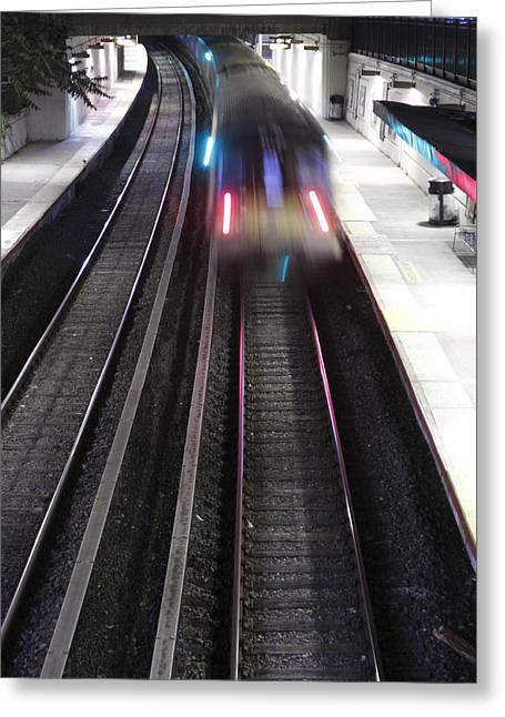 Man Looking Down Greeting Cards - Great Neck Train Station Greeting Card by Stephen Walker
